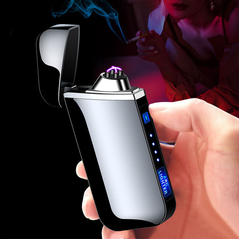USB Electric Lighter Finger Print Touch Fire Electronic Plasma Double Arc Lighter Windproof Metal Cigarette Lighters Mens Gift