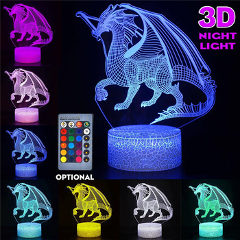 3D Colorful Flying Dragon LED Night Light Touch Remote Control USB Home Table Lamp Creative Decoration Light Gift цена 2017