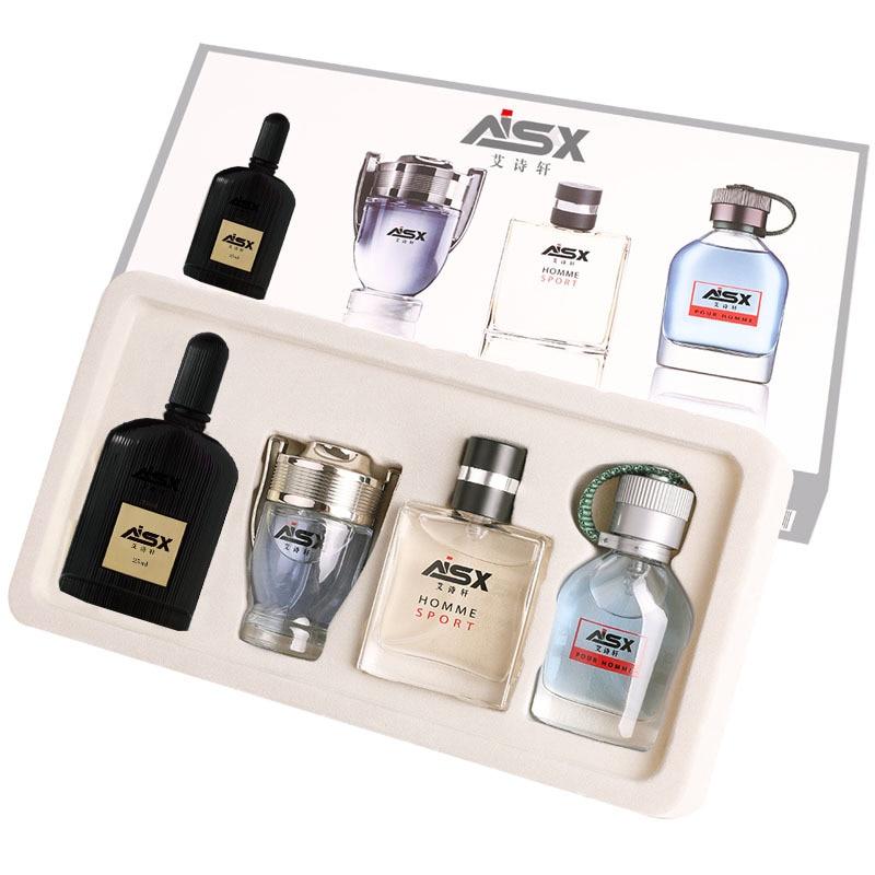 LANBENA 1Set 4Pcs Men Perfume Long Lasting Fragrance Mini Bottle Portable Parfum Brand Gentleman Lasting Spray Glass Bottle 1