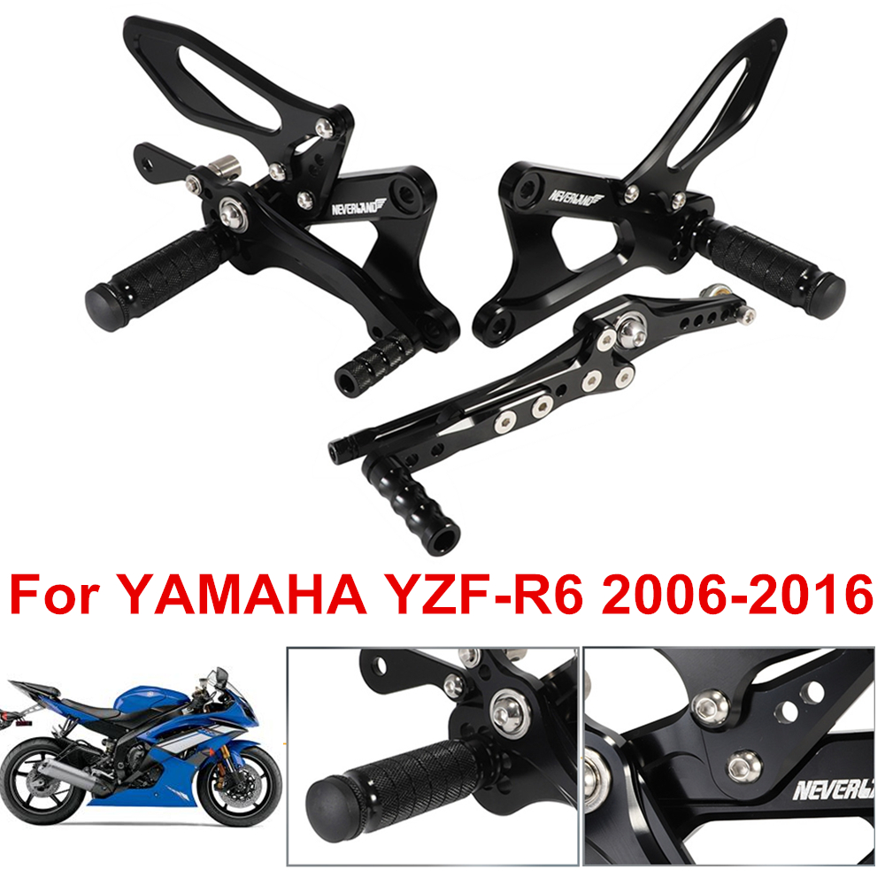 2006-2016 R6 Rear set Adjustable Rearsets Footpegs for Yamaha YZF-R6 2006 2007 2008 2009 2010 2011 2012 2013 2014 2015 2016