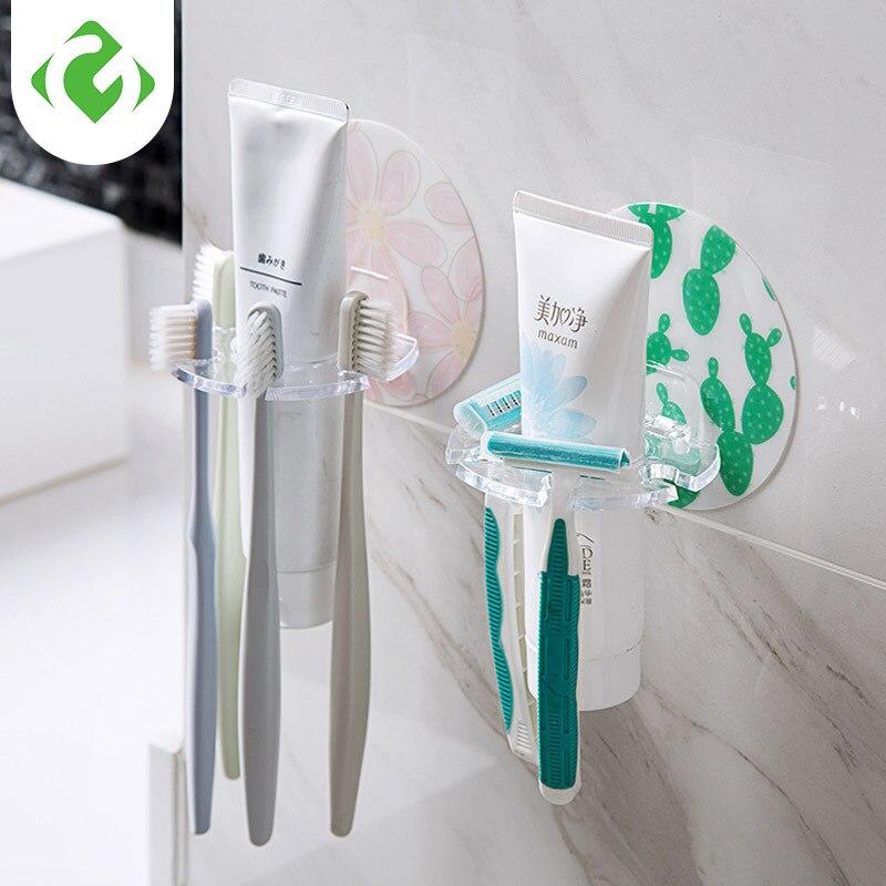 1PC Plastic Toothbrush Holder Toothpaste Storage Rack Shaver Tooth Brush Dispenser Bathroom Organizer Accessories Tools GUANYAO