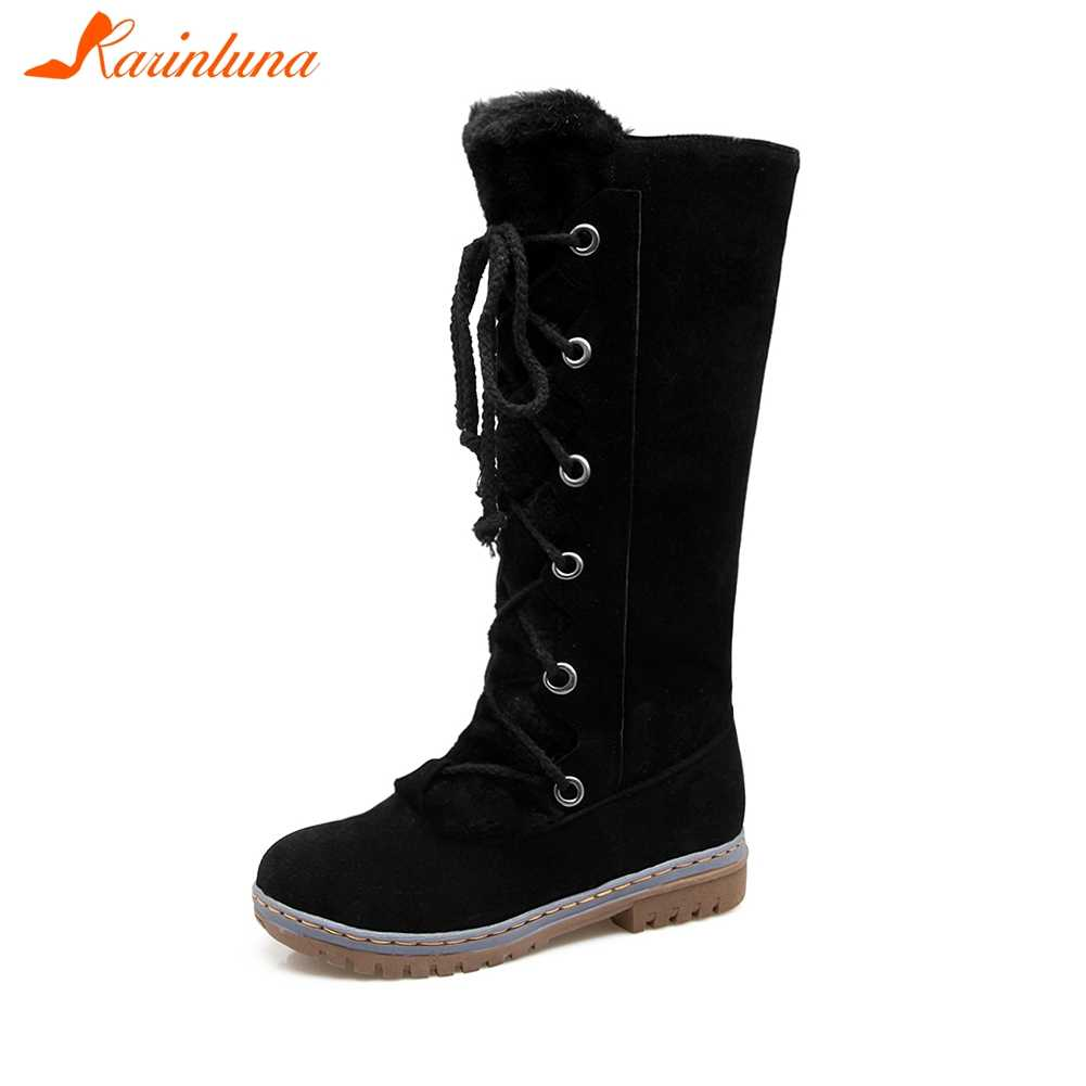 KARINLUNA Artı Boyutu 34-46 Kadın Kürk Botları Bayanlar Kış sıcak ayakkabı Kadın dantel-up orta buzağı Kar çizmeler kaymaz Düşük Topuk Ayakkabı