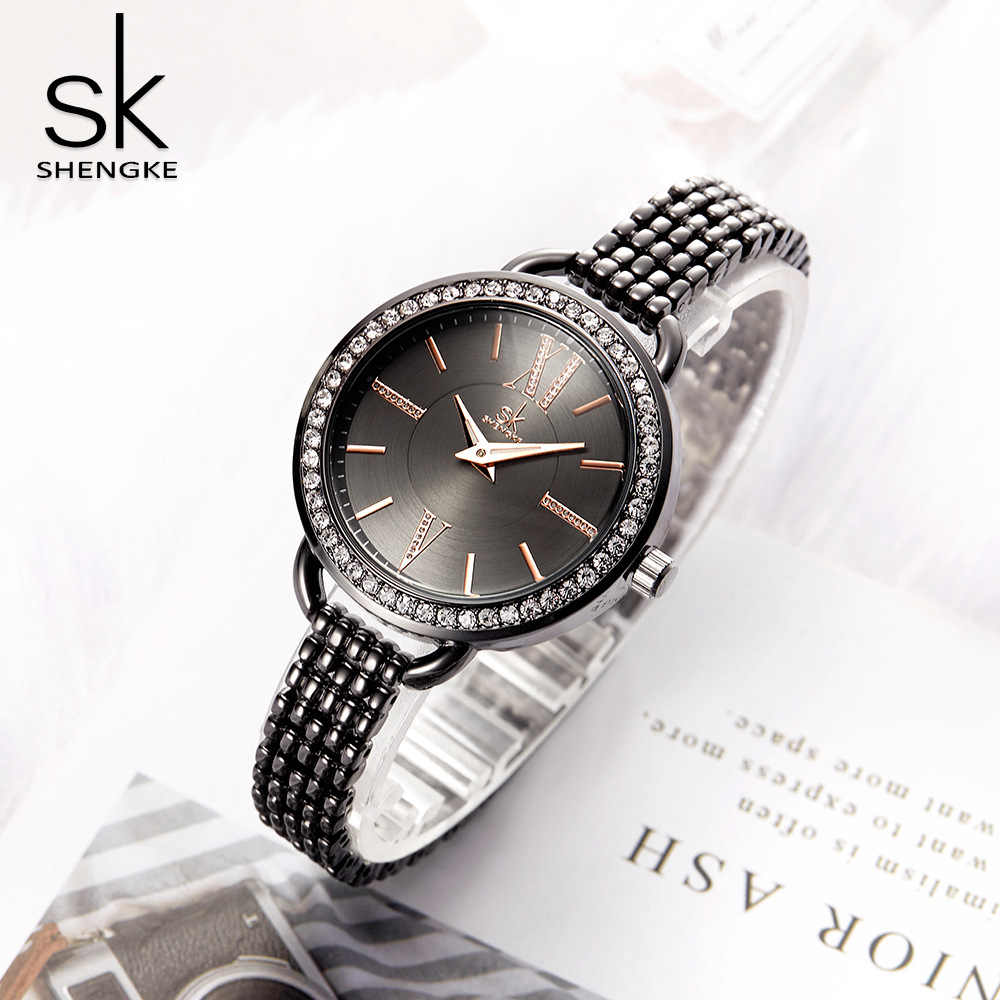 SHENGKE Classic Women Watches Black Steel Rhinestone Retro Elegant Lady Wristwatch Nail Strap Japan Movement Clock Jewelry Gift