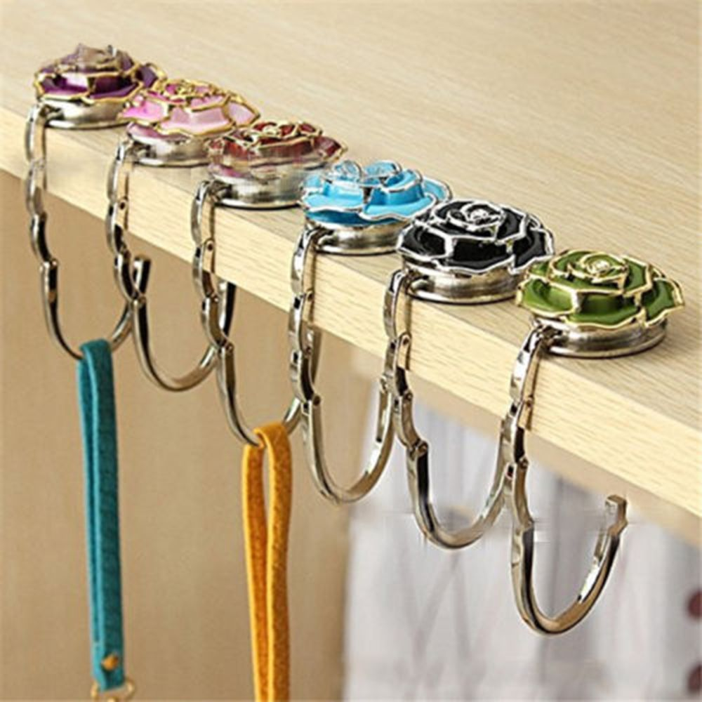 Anti-Fall Folding Handbag Holder Purse Bag Hanger Durable Table Hook Hang Rose Flower Shape Portable Metal Folding Bag Hook New