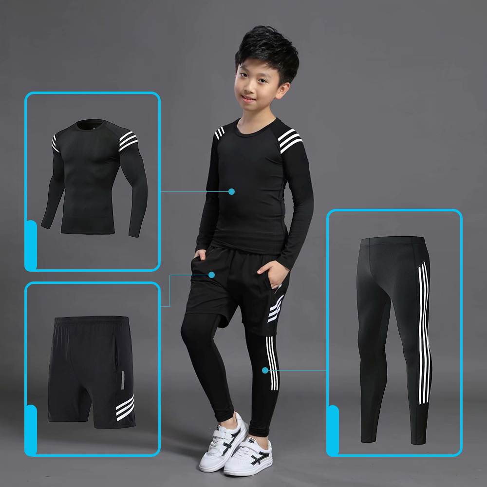 Kids Sports Running Set 2019 Sportswear Men Sport Suit Basketball Jogging Clothes Tights Gym Training Football Training Clothes