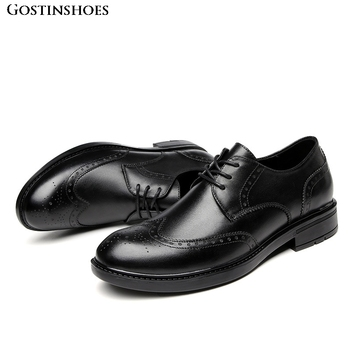 Sapato Full Grain Leather Men Low Top Brogue Business Casual Buty Meskie High Quality Lace Up Buty Meskie фото