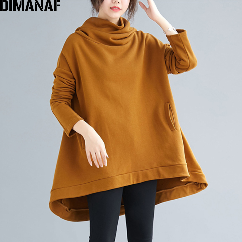 DIMANAF Plus Size Women Hoodies Sweatshirts Winter Thick Oversize Loose Casual Solid Cotton Female Tops Pullover Turtleneck 2019