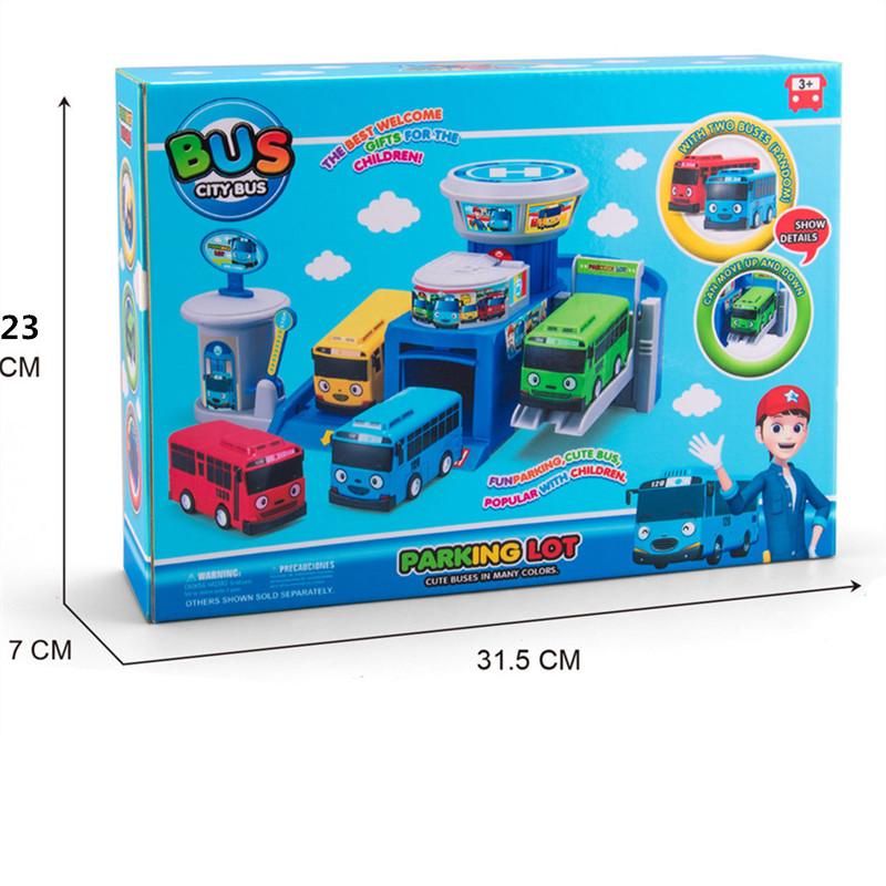 Korean Anime Tayo the little bus parking lot garage city Bus station headquarters model with 2 mini tayo car kids Christmas gift