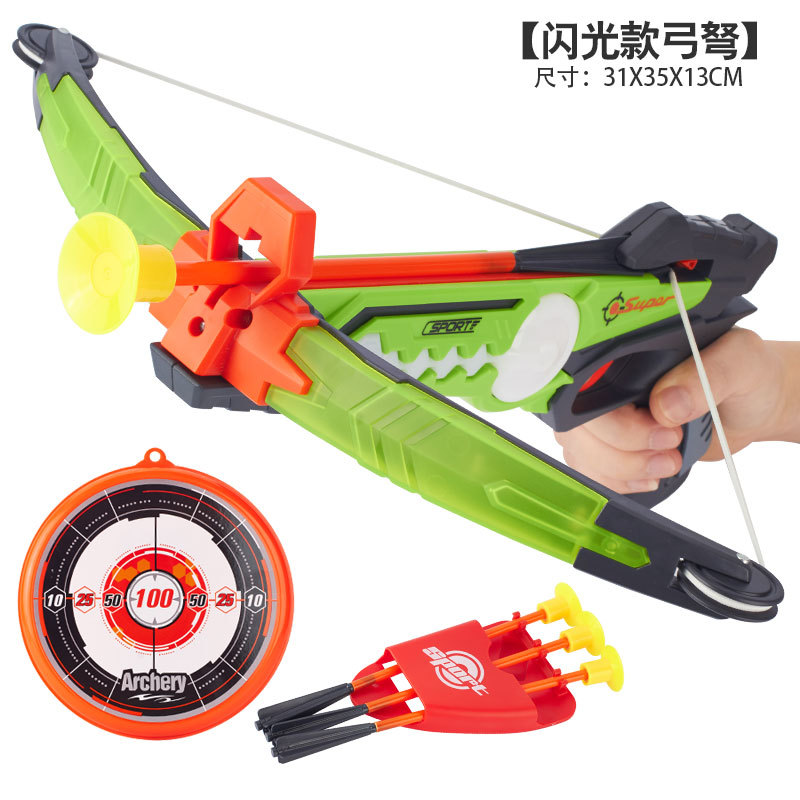 Children Outdoor Flash Crossbow Bow And Arrow Toy Traditional Shooting Arrow Safe Sucker Target 6-Year-Old Boy