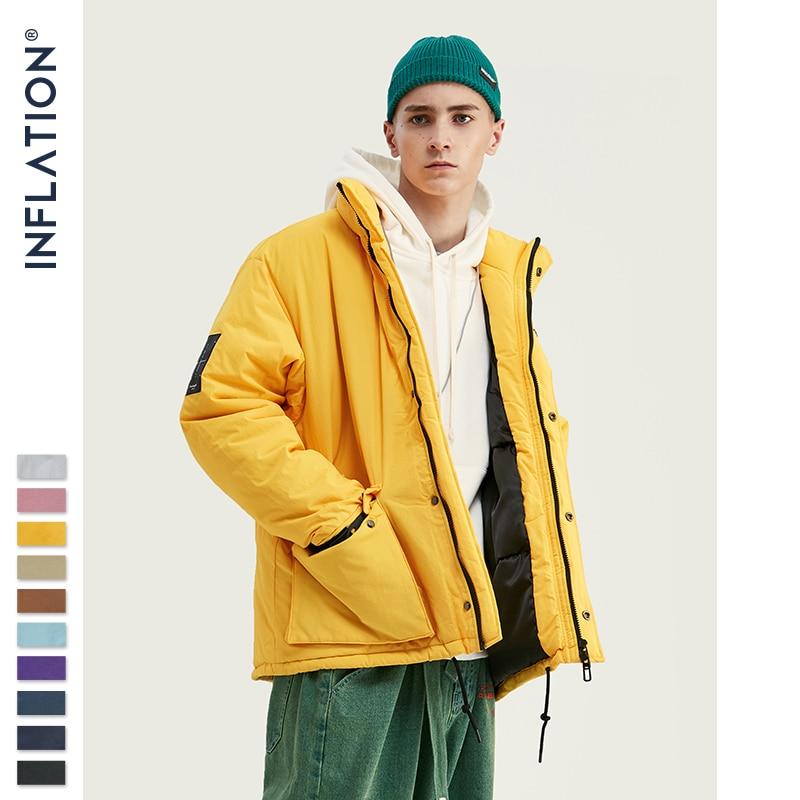 INFLATION 2019 Men Winter Parka Jacket Solid Color Mens Warm Parka Jacket Streetwear 10 Different Color Men Parka Jacket 8761W