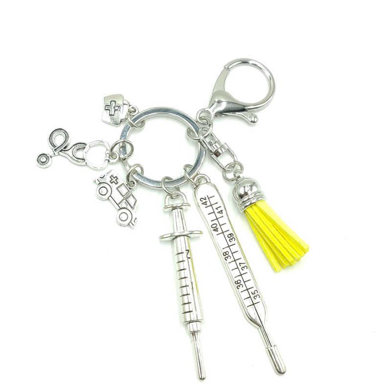 חם! 2019 חדש אחות רפואי תיבת רפואי Keychain אמבולנס מחט מזרק סטטוסקופ ציצית חמוד Keychain תכשיטי מתנה
