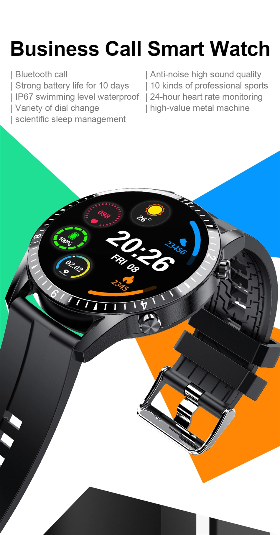 H75287271c00e4a2ab42ad8653ee36b4ah 2021 Smart Watch Phone Full Touch Screen Sport Fitness Watch IP68 Waterproof Bluetooth Connection For Android ios smartwatch Men