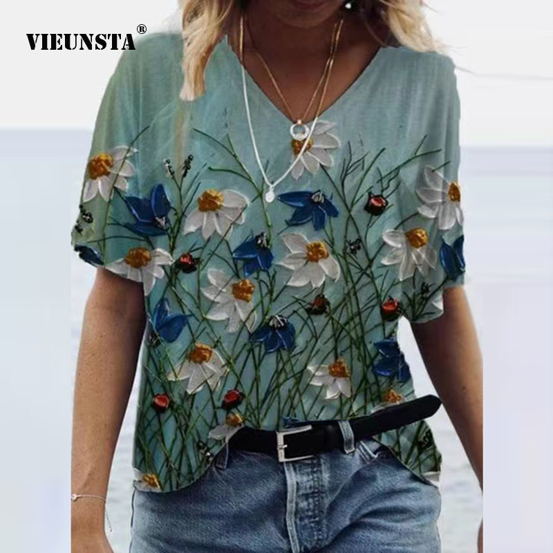 Vintage O Neck Spring Summer Blouses Shirts Fashion Short Sleeve Pullover Top Streetwear Elegant Floral Print Loose Shirt Blusas
