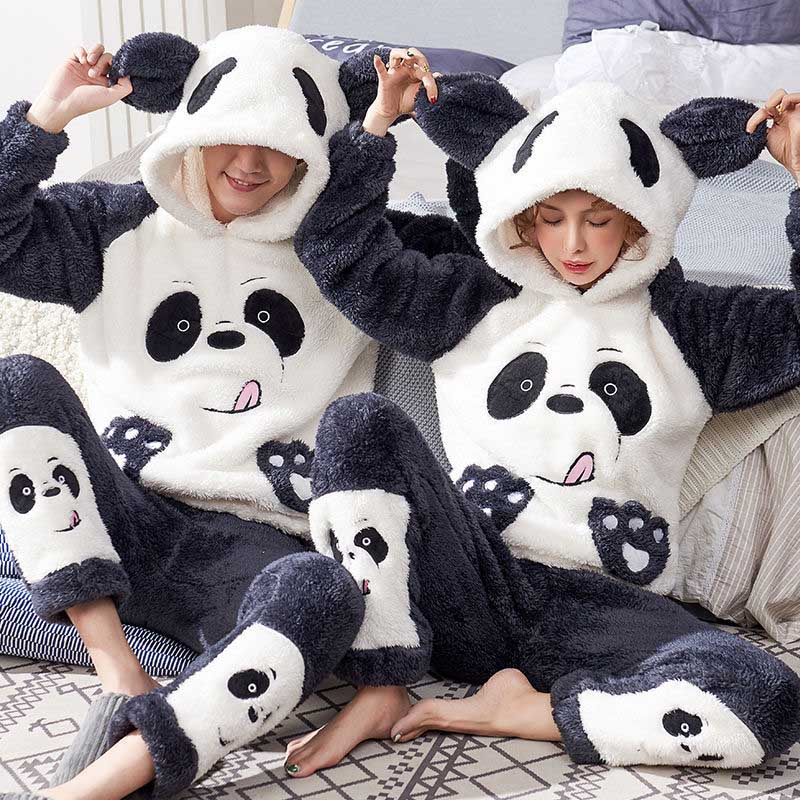 Unisex Adult Couple Pajamas Men Winter Velvet Sleepwear 2 Pieces Warm Flannel Pajama Set Animal Cartoon Cute Hooded Home Clothes