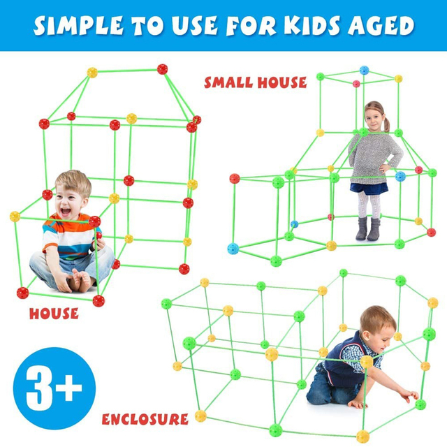 Kids Construction Toy Build Castles Tents Rocket Tunnels