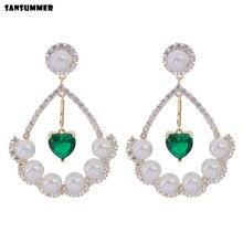 Sansummer 2019 New Hot Fashion Green Zircon Heart Pearl Pendant Elegant Luxury Shiny Charm S925 Stud Earrings For Women Jewelry