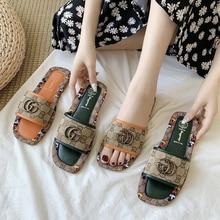 Nouvelles sandales plates et pantoufles à bout carré pour femmes, Style de rue, chaussures d'été, tendance