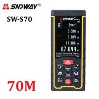 SNDWAY-telémetro láser de alta precisión, medidor de distancia, trena, cinta métrica láser, diastímetro recargable a Color, 70m