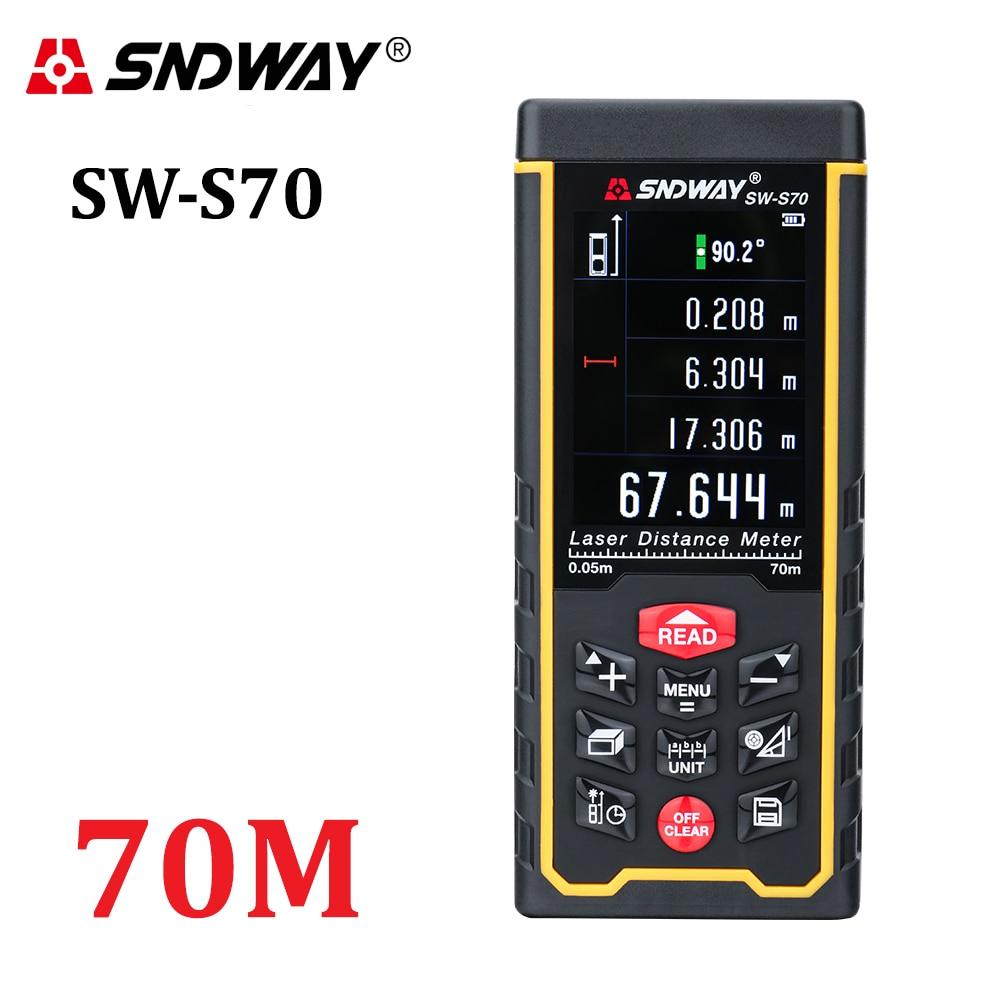 SNDWAY újratölthető 70 m-es színes kijelző, nagy pontosságú Lézeres távolságmérő távolságmérő trena Lézeres mérőmérő diasztiméter