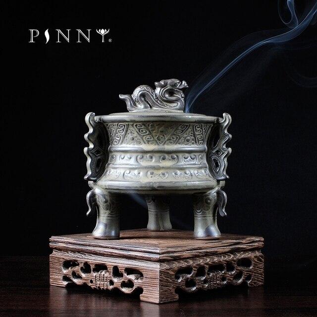 פיני קרמיקה מבער קטורת Binaural יצירתי מקל אנסאר ניחוח אלגום תנור מקדש בודהיסטי קרמיקה קטורת צורב
