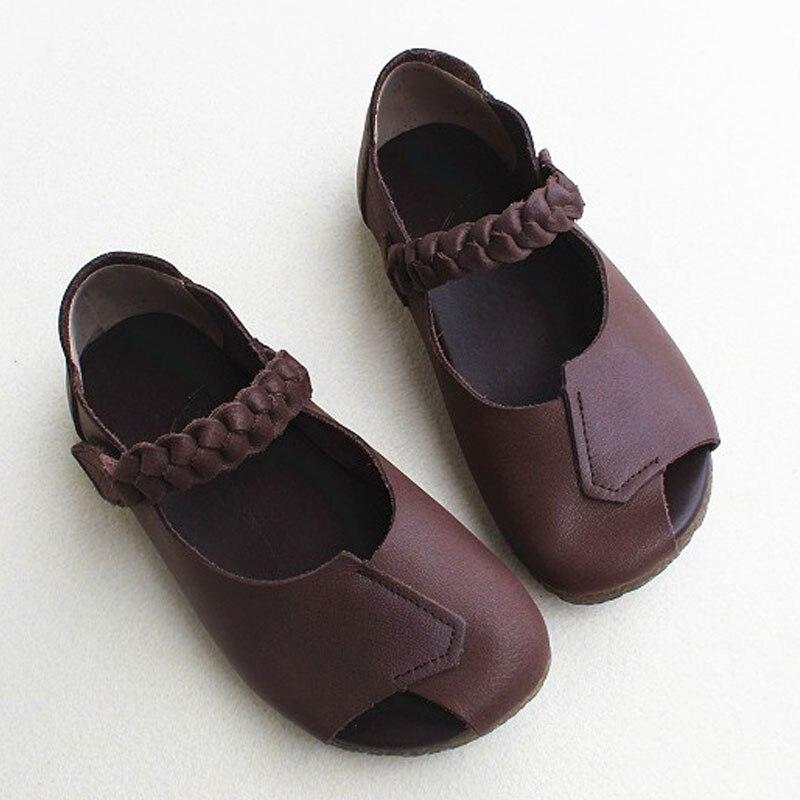Women Shoes Peep toe Summer Ballerina Woman Shoe 100% Genuine Leather Ladies Flat Shoes Chic Rome Footwear