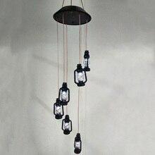 Декоративный Напольный сад светодиодный лампы шесть Фонари светильник Водонепроницаемый Винтаж вечерние Солнечный ветряной колокольчик с украшением в форме двор изменение Цвет ночь