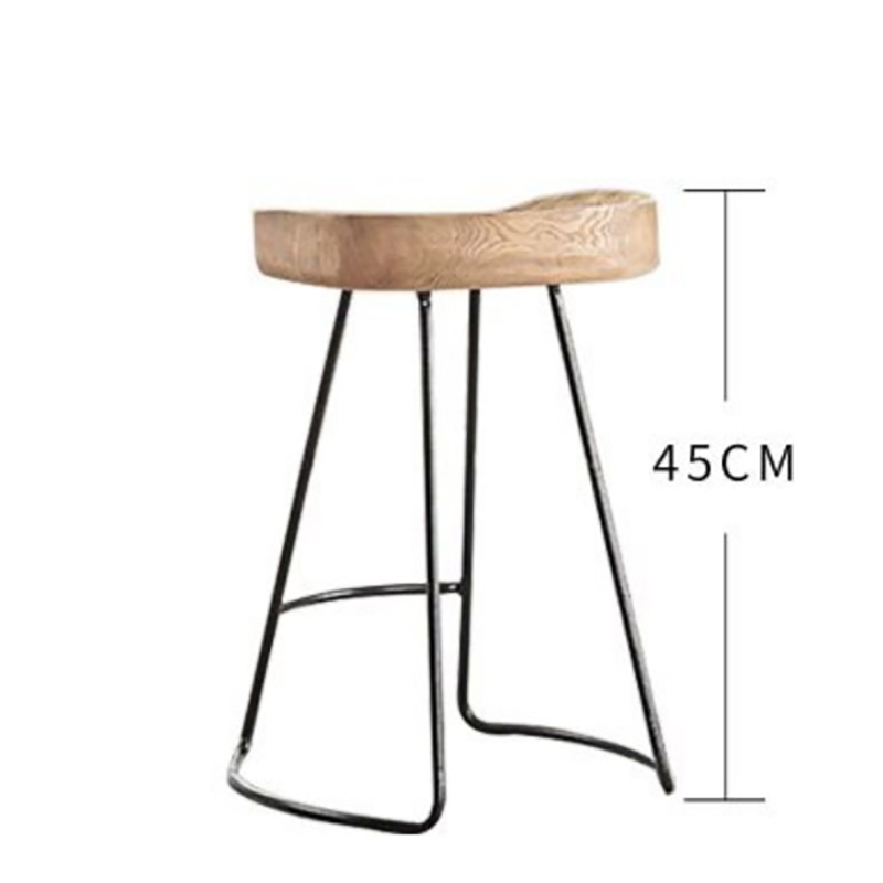 American Style Solid Wood Bar Stool High Bar Stool Wood Iron Bar Stool Coffee Chair Simple Home Decor Stool Dinner Table Chair