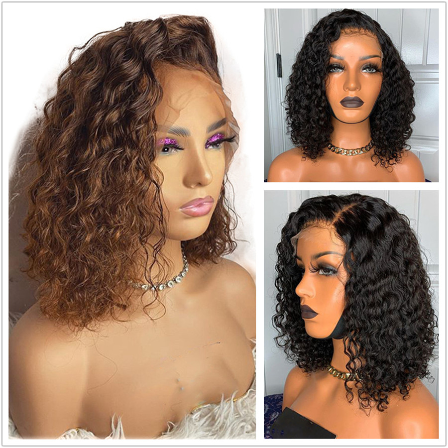 13*4 Lace Front Wigs With Baby Hair Jet Black Hair Short Bob Curls Honey Brown Human Hair Lace Wigs Pre Plucked Small Cap Size