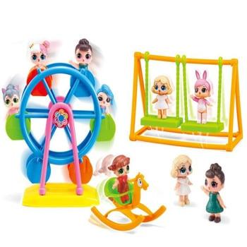 LoL Surprise Anime Kids Toys Set Ferris Wheel Amusement Park Sports Car lol dolls Action Figure Pvc Model Children Birthday Gift