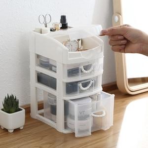 3 Layers Drawer Cosmetics Organizer Makeup Organizer Desktop Office Jewelry Box Bathroom Sundries Plastic Storage Makeup Boxes