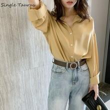 Vintage Shirts Women 2019 Fall Long Sleeve Korean Ladies Tops Turn Down Collar Elegant Lady Loose Blusas Mujer De Moda
