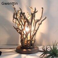 Original Baum Holz Tisch Lampe Vintage Stehend Schreibtisch Licht für Schlafzimmer Hotel Nacht Lampe Led Leuchten Leuchte Wohnkultur