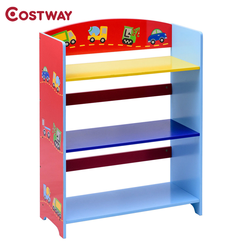 3-Tier Kids Adorable Corner Cars Book Bookshelf Environmentally Friendly Paint Attractive Pattern Suitable Height Shelves
