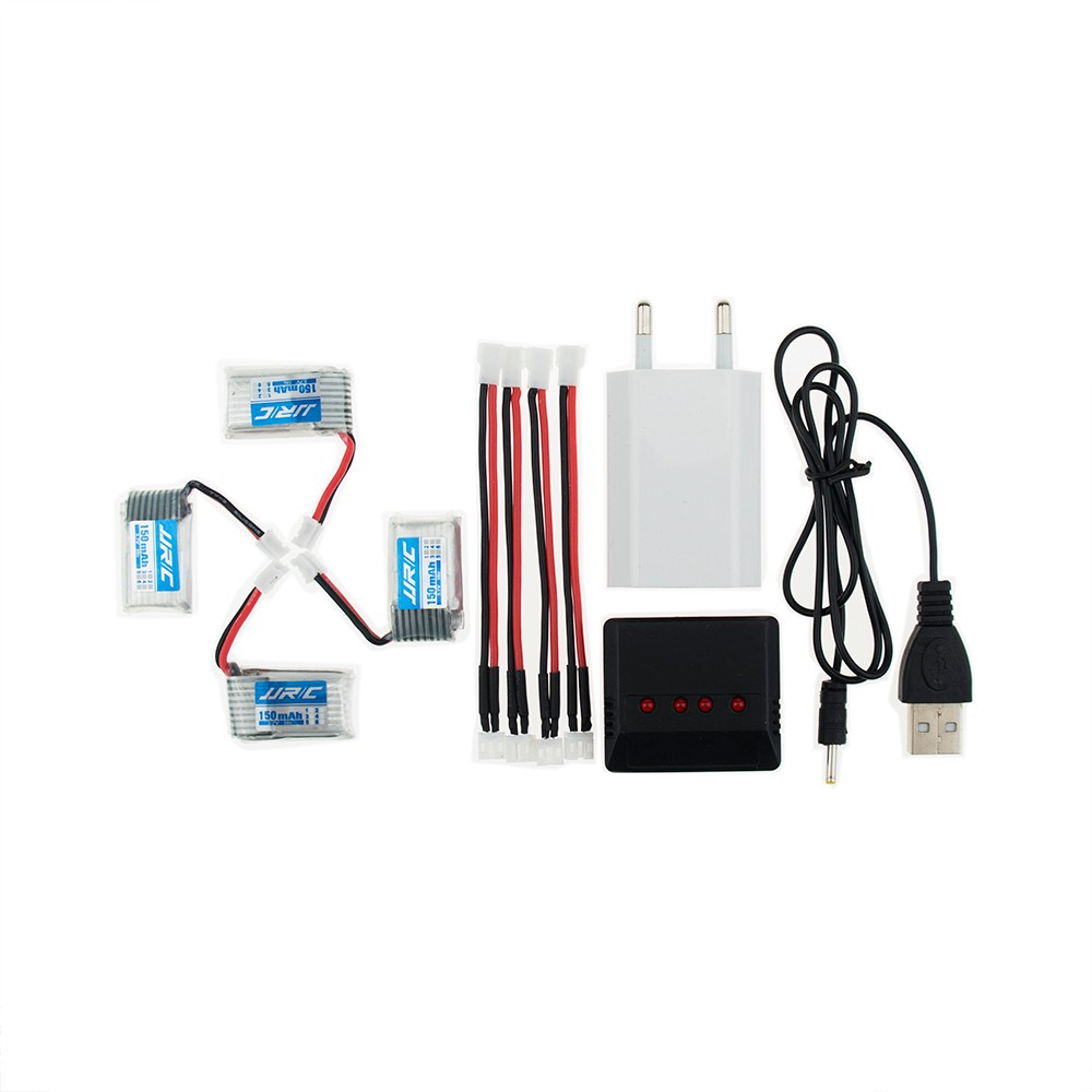 4 pcs <font><b>150mAh</b></font> <font><b>3.7V</b></font> li-po Battery and x4 USB EU plug charger Furibee F36 Eachine E010 JJRC H36 RC Quadcopter Spare Parts image