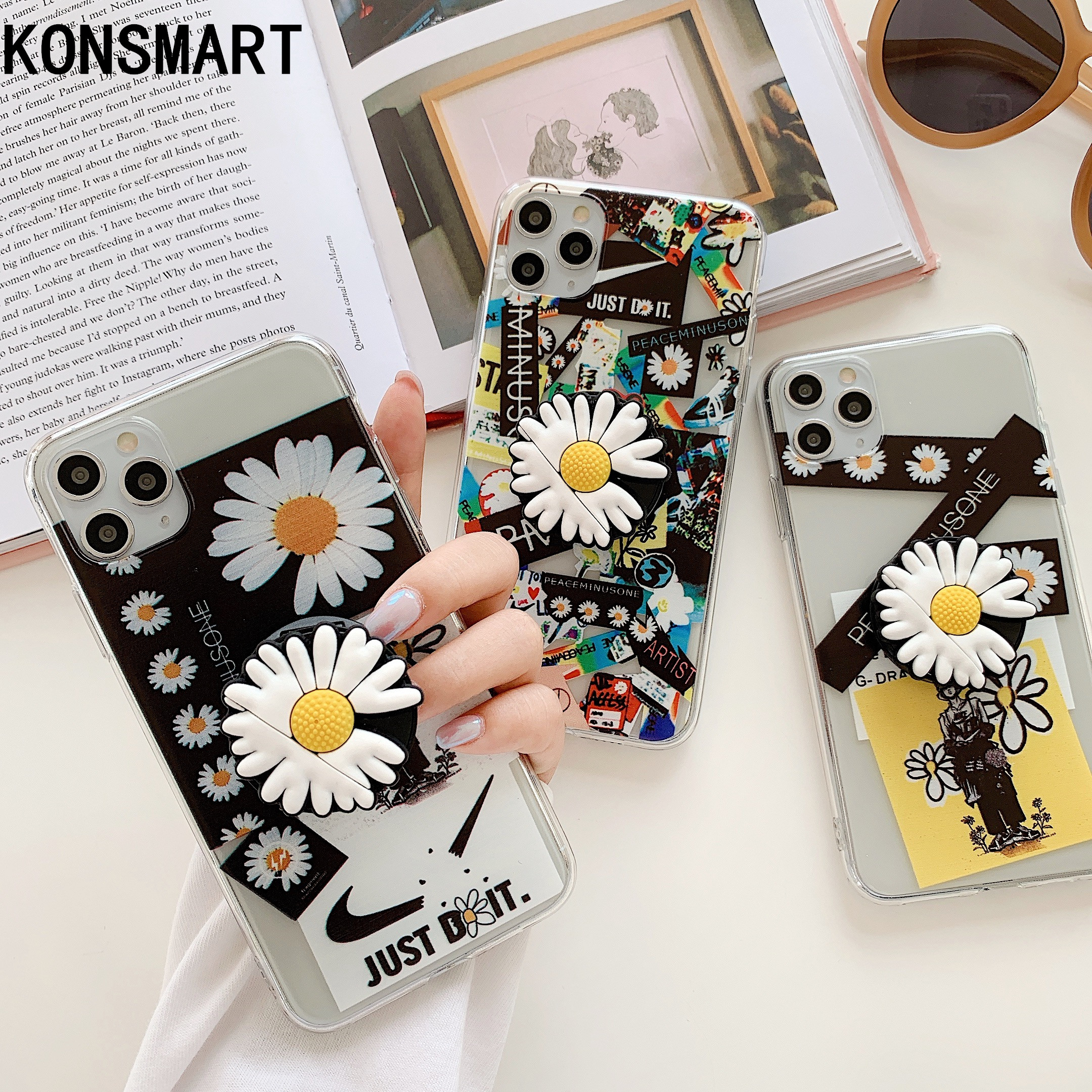 KONSMART For Xiaomi Redmi Note 9 Pro Max Case Note9 GD Daisy Flower Fashion Silicone Back Cover Redmi Note 8 Pro Note 9S Note 7