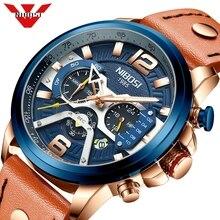 NIBOSI 고급 브랜드 남자 시계 블루 아날로그 가죽 스포츠 시계 남자 육군 군사 시계 날짜 쿼츠 시계 Relogio Masculino