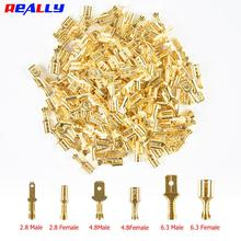100Pcs Lot 2 8 4 8 6 3mm Female and Male Crimp Terminal Connector Gold Brass Silver Car Speaker Electric Wire Connectors Set cheap really CN(Origin) Gold tone