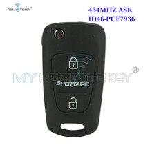 Remtekey Flip remote key 3 button 434Mhz TOY48 46 chip for Kia Sportage flip remote key with 46chip 3 button toy48 434mhz for kia folding car key remtekey