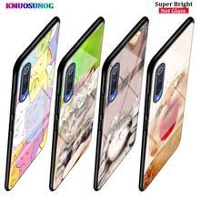 Sleeping Cat  Fashion for Samsung Galaxy A80 A70 A60 A50 A40 A20E A2Core A10 Super Bright Glossy Black Phone Case