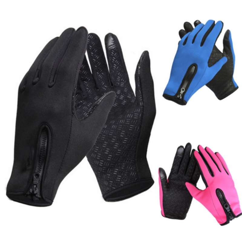 Touch-screen Bike Gloves Winter Thermal Windproof Warm Full Finger Cycling Glove Anti-slip Men Women Outdoor Bicycle Gloves