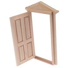 Деревянная дверь «сделай сам», 1 шт., аксессуары для кукольного домика, ролевая игрушка для детей, 1:12, имитация двери кукольного домика, миниа...