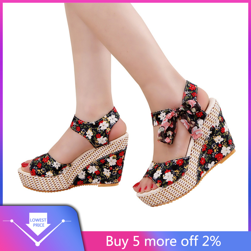 YOUYEDIAN Flatform Shoes Sandals Wedges Flower Lace-Up Thick-Bottom Sexy Peep-Toe Woman