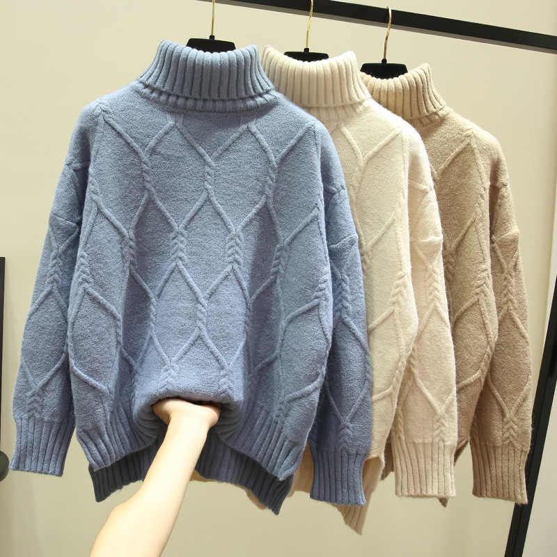 Losse coltrui vrouwen truien 2019 winter nieuwe solid losse diamant thicken warm lady pulls fashion uitloper jas tops