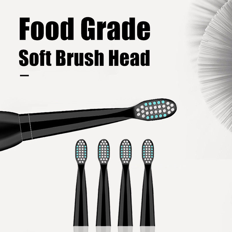 Hot TOD-5 Mode Sonic Rechargeable Electric Toothbrush 4x Brush Heads Waterproof Ipx7 Charging, Black (Normal Usb Charging)