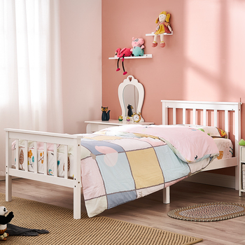 Panana Wooden 3FT Single Bed Frame White Solid Pine Wood Bed for Adults Kids Teenagers solid wood children beds with guardrail small infant bedside single widening and splicing kids bed