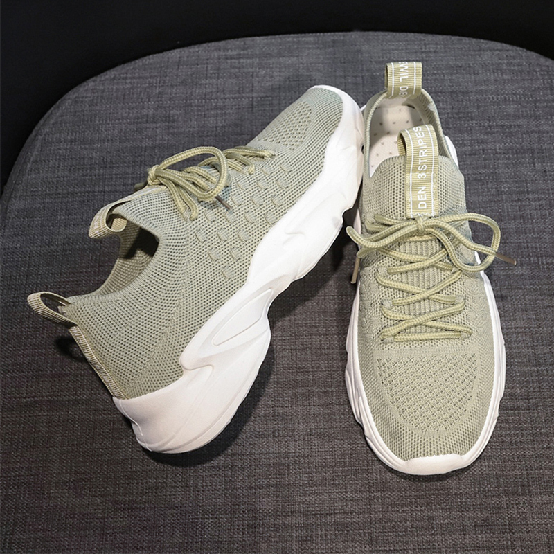 2020 Spring Mesh White Sneakers Fashion Comfort Lace Up Weaving Sock Sneakers Casual Platform Shoes Woman Black Yellow Green