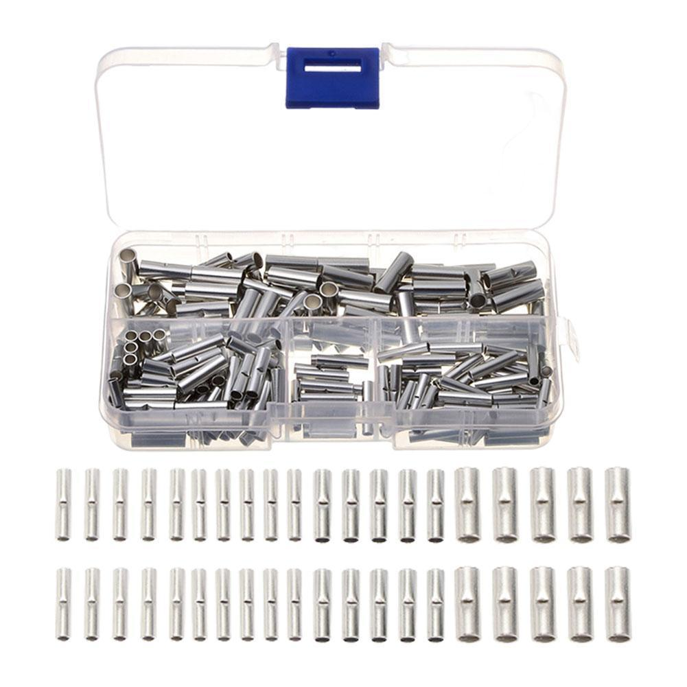 Assorted Insulated Crimp Terminals Electrical Wire Cable Butt Connectors Crimping Terminal Non Insulated Butt Connectors Kit