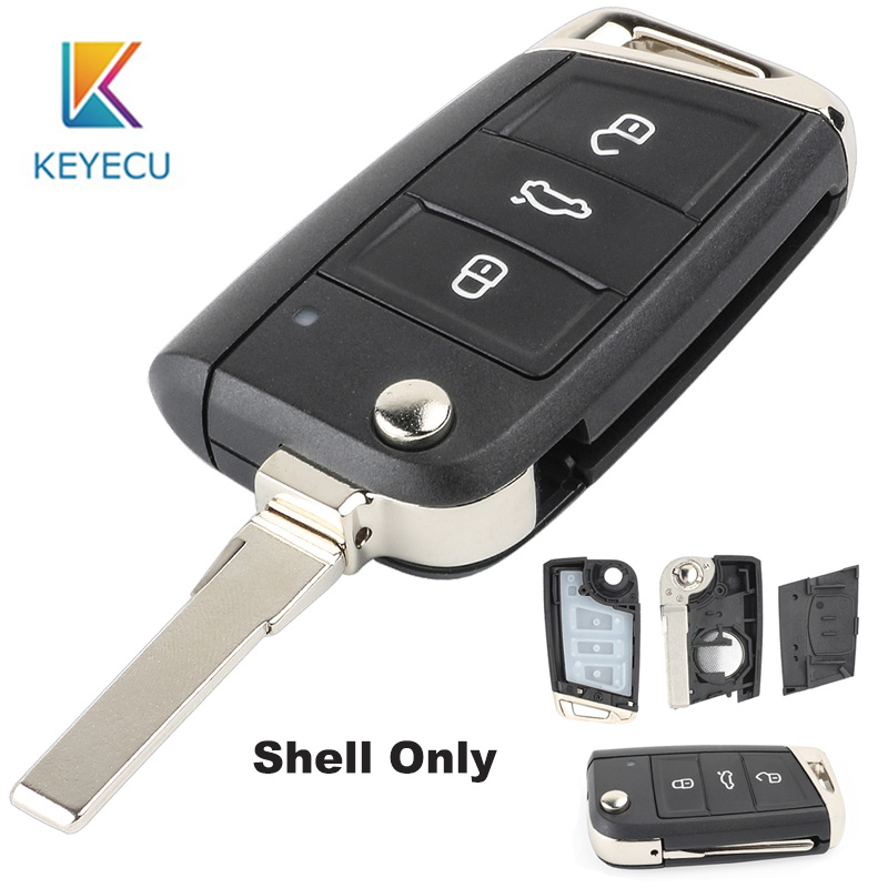 KEYECU Replacement 3 Button Modified Folding Flip <font><b>Remote</b></font> Car <font><b>Key</b></font> Cover Case Shell For V*W <font><b>Golf</b></font> <font><b>7</b></font> G*TI MK7 Skoda Octavia A7 Seat image