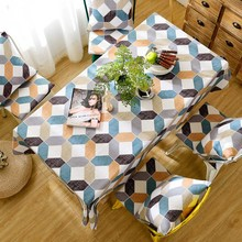 Rhombic Plaid Decorative Linen Tablecloth Thick Waterproof Oilproof Thick Rectangular Wedding Dining Table Cover Tea Table Cloth
