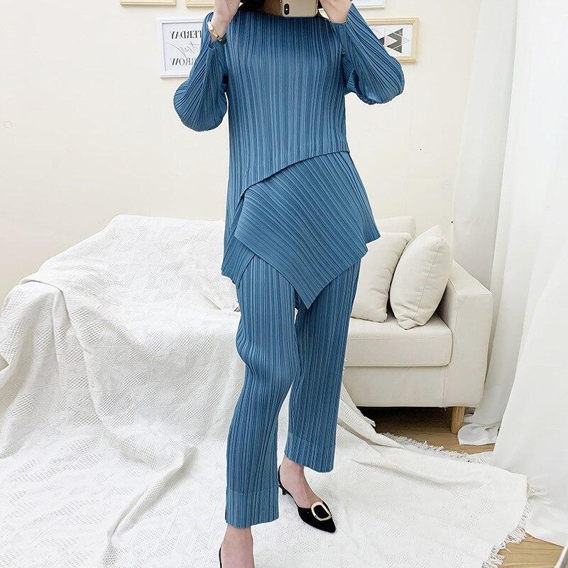 LANMREM 2019 Autumn And Winter New Products Fashion Straight Split Leg Pants + Long Sleeve Round Neck Irregular T-shirt PB305